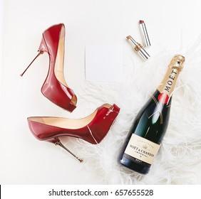 Dnipro, Ukraine - October 8, 2016: Moët & Chandon champagne top view fashion details