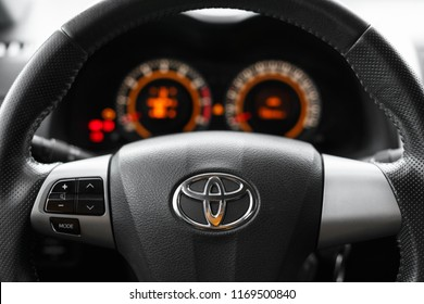 DNIPRO, UKRAINE - SEPTEMBER 01, 2018: TOYOTA COROLLA GREY COLOR, WHEEL CLOSE