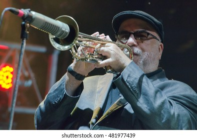 DNIPRO, UKRAINE - SEPTEMBER  11, 2016: Jazz trumpeter and composer Randy Brecker performes at the  festival Jazz on the Dnieper.