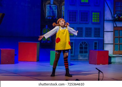 DNIPRO, UKRAINE - SEPTEMBER 30, 2017: Pippi Long Stocking performed by members of the Zaporizhzhya Academic Regional Ukrainian Music and Drama Theater named after Volodymyr Magar .