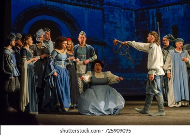 DNIPRO, UKRAINE - SEPTEMBER 30, 2017: The Comedy of Errors by William Shakespeare performed by members of the Chernihiv Regional Academic Music and Drama Theater named after TG Shevchenko.