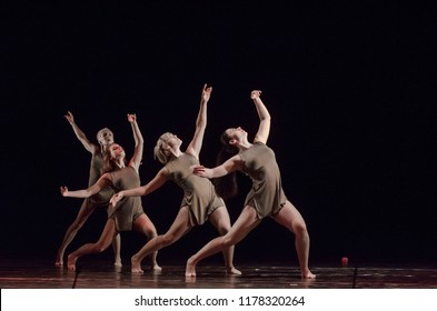 DNIPRO, UKRAINE - SEPTEMBER 7, 2018: Modern ballet performed by members of the Mykolayiv Academic Drama Theater.