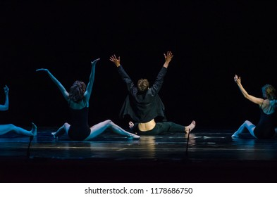 DNIPRO, UKRAINE - SEPTEMBER 7, 2018: Modern ballet performed by members of the Kiev Youth Theater.