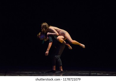 DNIPRO, UKRAINE - SEPTEMBER 7, 2018: Modern ballet performed by members of the Lugansk Regional Academic Ukrainian Music and Drama Theater.
