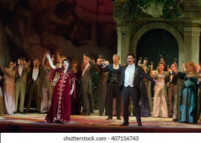 DNIPROPETROVSK, UKRAINE - APRIL 17, 2016: Traviata operaperformed by members of the Dnipropetrovsk Opera and Ballet Theatre.