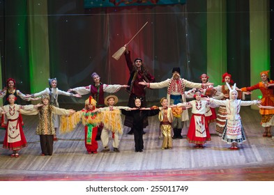 DNIPROPETROVSK, UKRAINE - FEBRUARY 8: Unidentified children, ages 6 -15 years old, perform UKRAINIAN TALES on February 8, 2015 in Dnipropetrovsk, Ukraine
