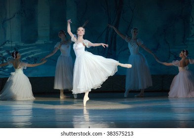 DNIPROPETROVSK, UKRAINE - FEBUARY 28, 2016: Sylphs (Shopeniana)ballet  performed by Dnepropetrovsk Opera and Ballet Theatre ballet.