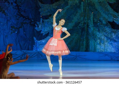 DNiPROPETROVSK, UKRAINE - JANUARY 10, 2016: Sofia Gatylo, age 15 years old, performs Ballet pearls at State Opera and Ballet Theatre.