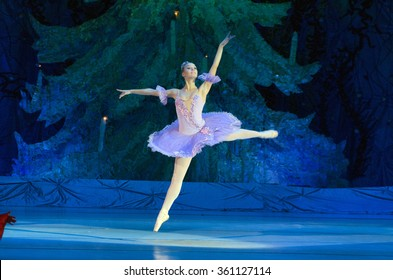 DNIPROPETROVSK, UKRAINE - JANUARY 10, 2016: Balerina Julia Zakharenko performs at State Opera and Ballet Theatre.