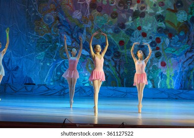 DNIPROPETROVSK, UKRAINE - JANUARY 10, 2016: Unidentified girls, ages 12-15  years old, perform Ballet pearls at State Opera and Ballet Theatre.