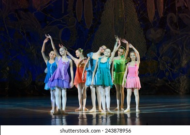 DNIPROPETROVSK, UKRAINE - JANUARY 11: Unidentified girls, ages 7-14 years old, perform Ballet pearls at State Opera and Ballet Theatre on January 11, 2015 in Dnipropetrovsk, Ukraine