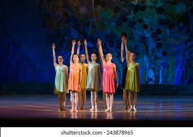 DNIPROPETROVSK, UKRAINE - JANUARY 11: Unidentified girls, ages 11-14 years old, perform Ballet pearls at State Opera and Ballet Theatre on January 11, 2015 in Dnipropetrovsk, Ukraine