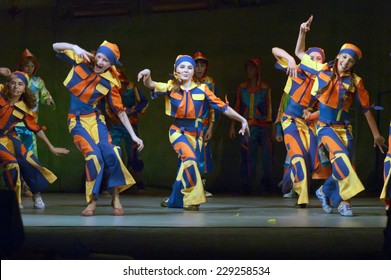 DNIPROPETROVSK, UKRAINE - JUNE 1: Unidentified children, ages 8-14 years old, perform DREAMLAND on June 1, 2007 in Dnipropetrovsk, Ukraine