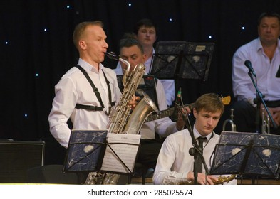DNIPROPETROVSK, UKRAINE - JUNE 5: Members of the Philharmonic Society Jazz Orchestra perform on June 5, 2015 in Dnipropetrovsk, Ukraine