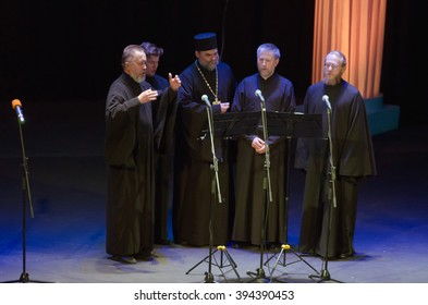 DNIPROPETROVSK, UKRAINE - MARCH  21, 2016: Members of the Ensemble singing ancient Candlemas  perform at the State Russian Drama Theatre.