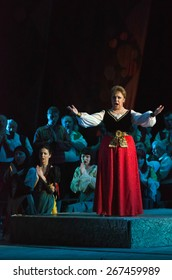 DNIPROPETROVSK, UKRAINE - MARCH 26: Members of the Dnipropetrovsk State Opera and Ballet Theatre perform CAVALLERIA RUSTICANA on March 26, 2015 in Dnipropetrovsk, Ukraine