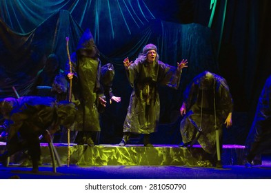 DNIPROPETROVSK, UKRAINE - MAY 22: Members of the Dnepropetrovsk State Russian Drama Theatre perform THE COUNTRY OF THE BLIND on May 22, 2015 in Dnipropetrovsk, Ukraine