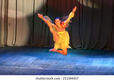 DNIPROPETROVSK, UKRAINE - May 22: Nana Shishkin, age12 years old, perform CLEAN PLANET at the State Palace of children and youth on May 22, 2014 in Dnipropetrovsk, Ukraine