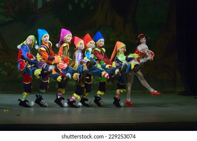 DNIPROPETROVSK, UKRAINE - MAY 27: Unidentified children, ages 8-12 years old, perform SNAW WHITE on May 27, 2007 in Dnipropetrovsk, Ukraine