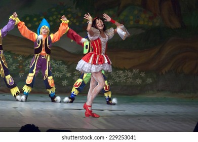 DNIPROPETROVSK, UKRAINE - OCTOBER 14: Unidentified children, ages 8-12 years old, perform SNAW WHITE on October 14, 2007 in Dnipropetrovsk, Ukraine