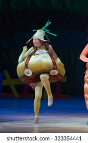 DNIPROPETROVSK, UKRAINE - OCTOBER 3, 2015: Member of the Dnipropetrovsk State Opera and Ballet Theatre performs CHIPOLLINO.