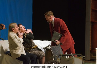 DNIPROPETROVSK, UKRAINE - OCTOBER 30, 2015: Members of the Dnipropetrovsk State Russian Drama Theatre perform A liar is required.