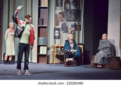 DNIPROPETROVSK, UKRAINE - SEPTEMBER 28: Famous Ukrainian artists perform SQUAT by Jean-Marie Chevret at the  State Russian Drama Theatre on September 28, 2014 in Dnipropetrovsk, Ukraine