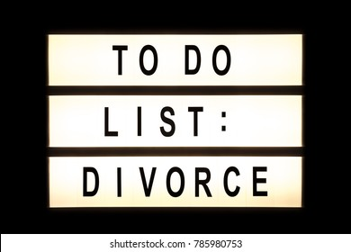 To do list divorce hanging light box sign board.