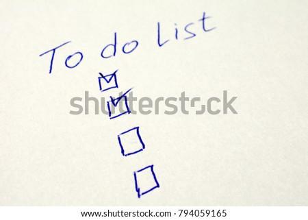 do list on white sheet paper stock photo edit now 794059165
