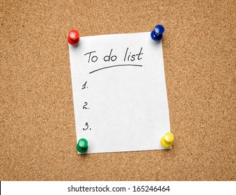 A To Do List pinned to a cork notice board as an aid to efficiency and productivity