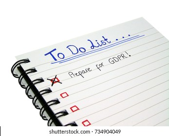 To Do List - Prepare for General Data Protection Regulation (GDPR), Isolated on White Background with Clipping Path