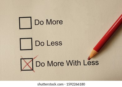 Do More With Less check box with  red pencil, productivity concept - Shutterstock ID 1592266180