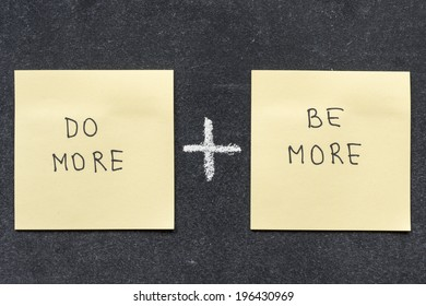 do more plus be more phrases handwritten on sticker notes