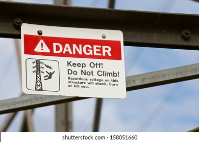 Do not climb electrical tower danger sign.