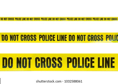 Do not cross police line tape yellow isolated on white background. This has clipping path.