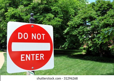 """""""Do not enter"""" traffic sign with copyspace"""