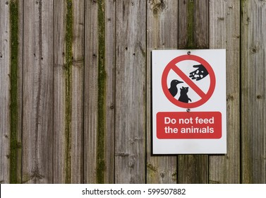 Do not feed animals sign on a wooden gate texture background