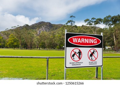 Do not feed kangaroos warning sign at the oval in Halls Gap, tourist destination in Grampians National Park