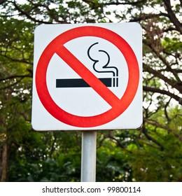 Do not smoke sign in the garden