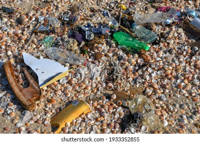 Do not throw plastic bottles into the sea.Underwater life is affected by these plastic bottles.Keeping the beach clean.Ashdod Beach Israel 20.02.2021.