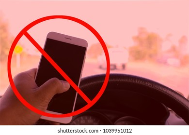 Do not using of mobile phone while driving or operating equipment. Can used for mobile phones and driving safety concepts.