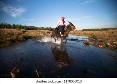 Cambará do Sul, Rio Grande do Sul / Brazil - 08/03/2018: gaucho mounted on horse, Serra Gaúcha, surrondings of Aparados da Serra National Park