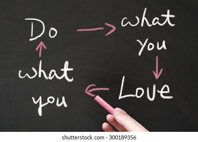 Do what you love and love what you do words written on blackboard using chalk