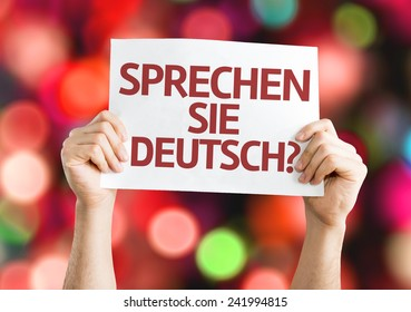 Do You Speak German? (in German) card with colorful background with defocused lights