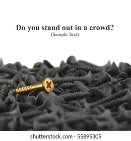 Do You Stand Out In A Crowd?  Macro of one brass screw in a pile of black screws isolated on white with copy space. Shallow DOF.