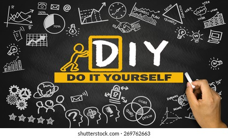 do it yourself diy concept hand drawing on blackboard