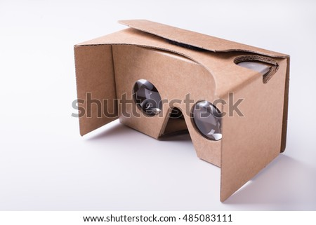 Do It Yourself (DIY) virtual reality headset over white