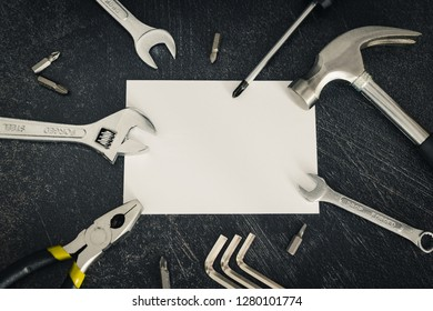 do it yourself and home renovation concept: set of DIY tools and copyspace to add your text or logo