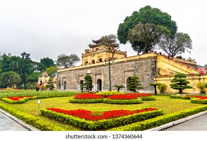 Doan Mon, the main gate of Thang Long Imperial Citadel. UNESCO world heritage in Hanoi, Vietnam