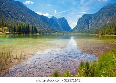 Dobbiaco Lake (Toblacher See) in the Dolomites, South Tirol, Italy